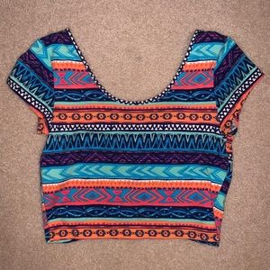Charlotte Russe patterned crop top with bow